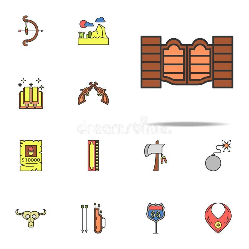 Portas ao ícone colorido barra Grupo universal dos ícones ocidentais selvagens para a Web e o móbil ilustração do vetor