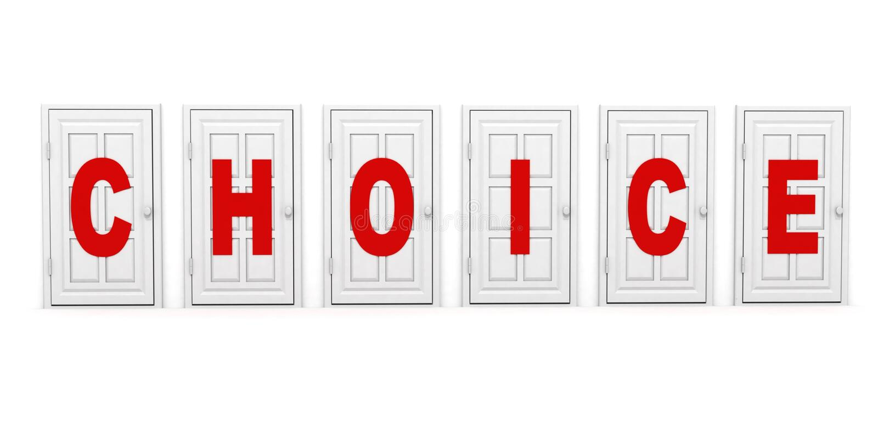 Portas brancas fechadas com texto vermelho. conceito bem escolhido ilustração royalty free