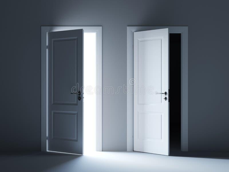 Portas claras e escuras abertas da maneira ilustração royalty free