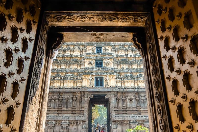 Portas da entrada do templo de Sri Jalakandeswarar em Vellore fotografia de stock royalty free