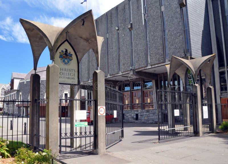 Portas da faculdade de Christ, Christchurch, Nova Zelândia fotografia de stock
