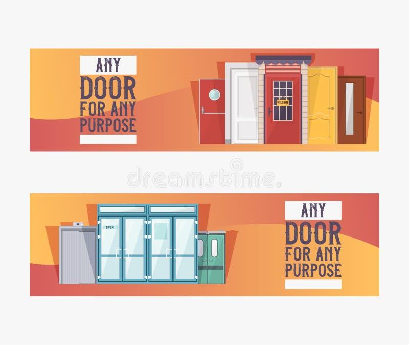 Portas da rua às casas e ao grupo das construções de bandeiras na ilustração lisa do vetor do projeto De madeira interior, de vid ilustração royalty free