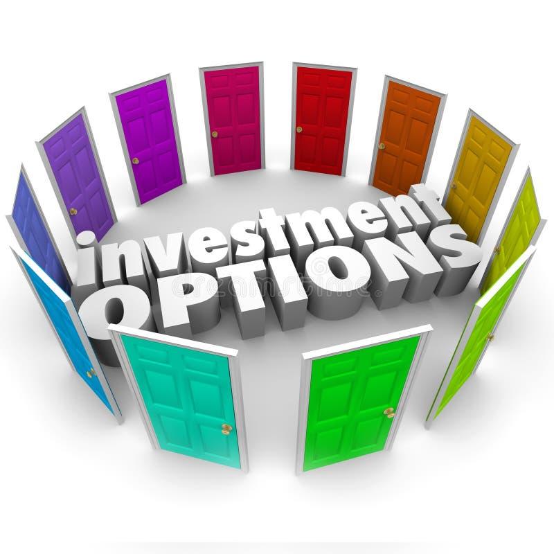 Portas das opções do investimento muitos trajetos que escolhem o melhor plano das economias ilustração do vetor