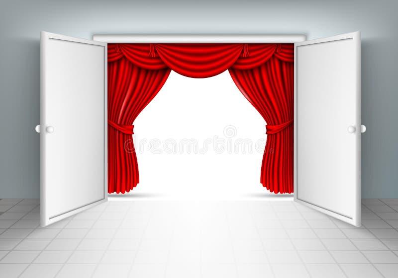 Portas de entrada com cortinas vermelhas ilustração do vetor