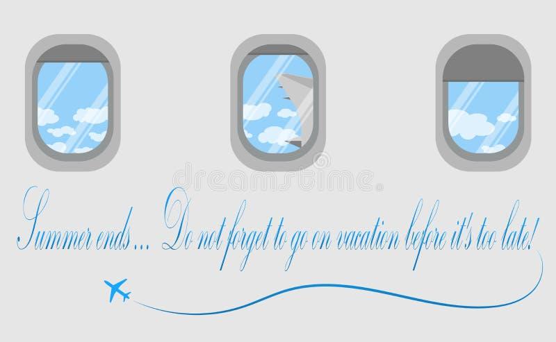 Portas de los aviones Una vista de las nubes blancas Vacaciones Finales del verano stock de ilustración