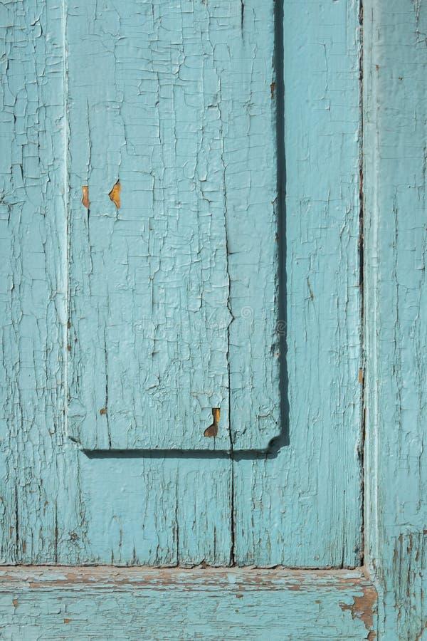 Portas de madeira sarapintados da pintura do cinza azul foto de stock royalty free