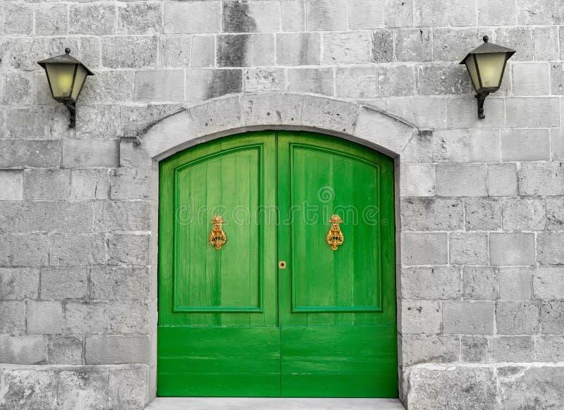 Portas de madeira verdes vibrantes velhas foto de stock royalty free