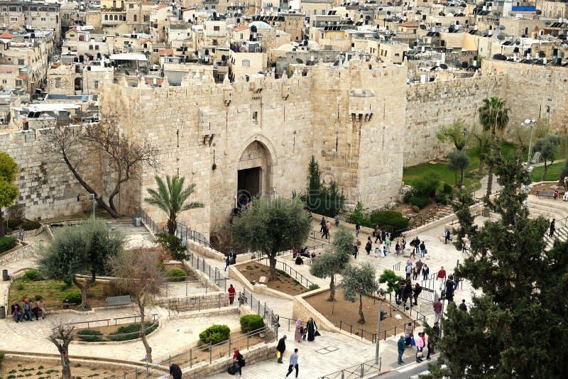 Portas de Shechem Damasco no Jerusalém imagem de stock royalty free