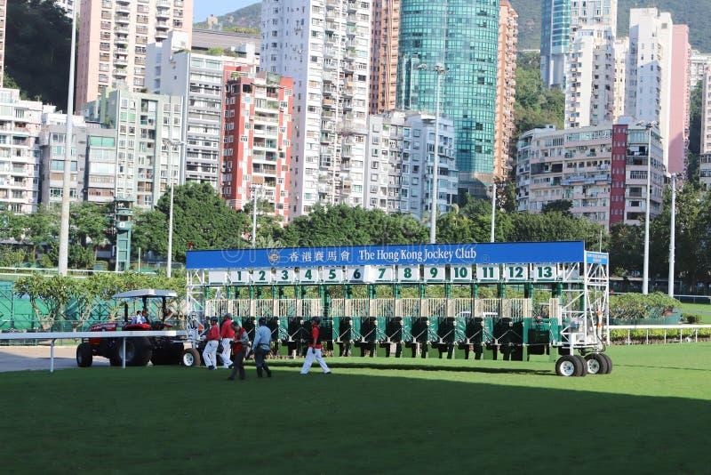 portas de um começo da corrida de cavalos com números em um dia ensolarado fotos de stock royalty free