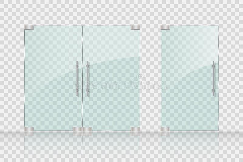 Portas de vidro da loja, da alameda para o mercado e boutique ilustração stock