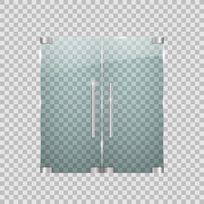 Portas de vidro transparentes com elementos do metal ilustração stock