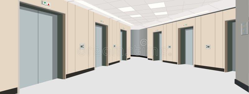 Portas do elevador no assoalho Interior do corredor longo Ilustração de um interior de um assoalho de uma casa de apartamento ilustração royalty free