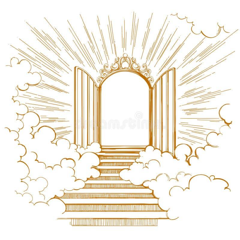 Portas do paraíso, entrada à cidade celestial, encontrando o deus, símbolo do vetor tirado mão da cristandade ilustração do vetor