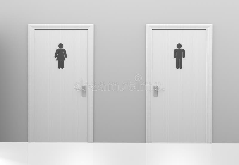 Portas do toalete aos toaletes públicos com ícones dos homens e das mulheres ilustração royalty free