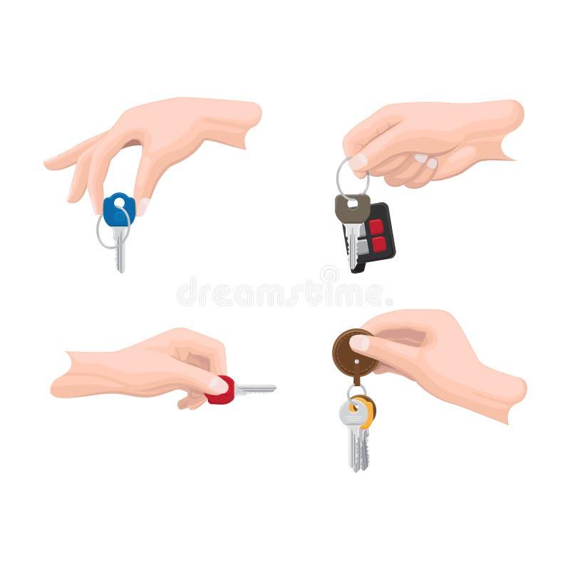 Portas e chaves do carro nos vetores lisos das mãos do ser humano ajustados ilustração royalty free