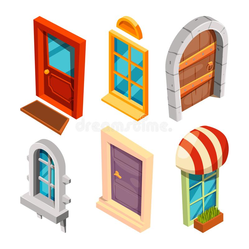 Portas e janelas isométricas ilustração royalty free