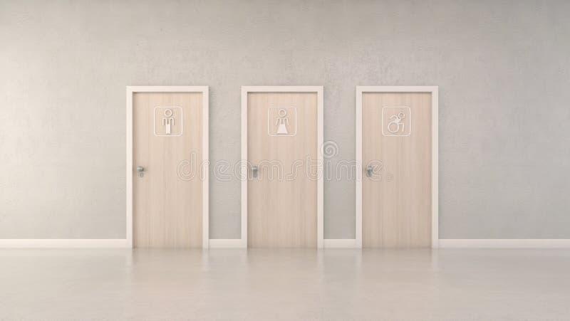 Portas e pictograma modernos do toalete da árvore ilustração royalty free