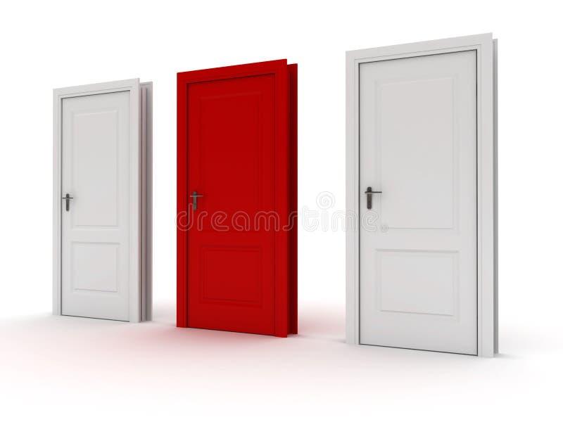 Portas um vermelho ilustração do vetor