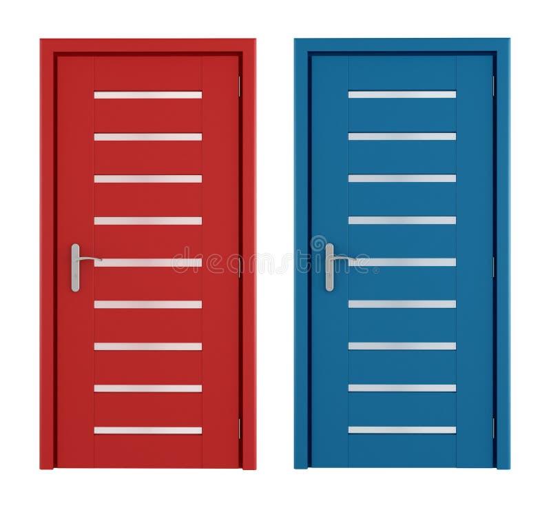 Portas vermelhas e azuis ilustração stock
