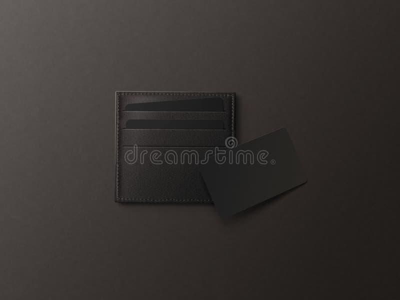 Portatarjetas de cuero con mofa negra en blanco del papel para arriba imagenes de archivo