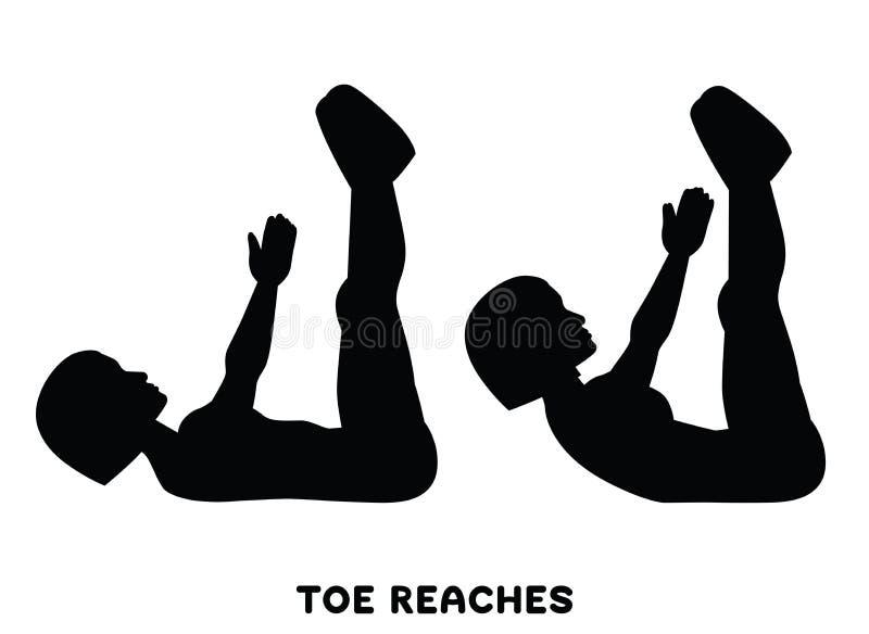 Portate del dito del piede scricchiolii Doppio scricchiolio Exersice di sport Siluette della donna che fanno esercizio Allenament illustrazione vettoriale