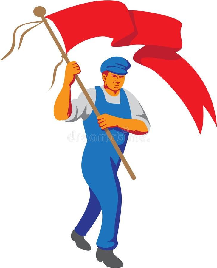 Portatore di bandiera in marcia del lavoratore WPA illustrazione vettoriale