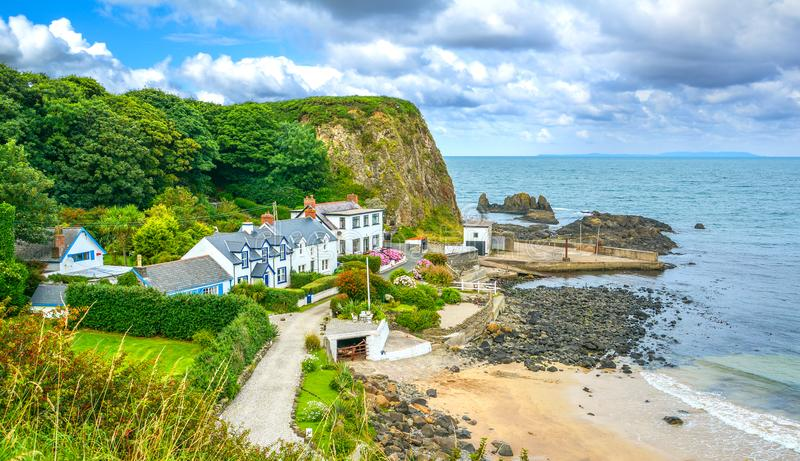 Portbradden, small village near Ballintoy, County Antrim, Northern Ireland. Ballintoy is a small village, townland and civil parish in County Antrim, Northern stock photography