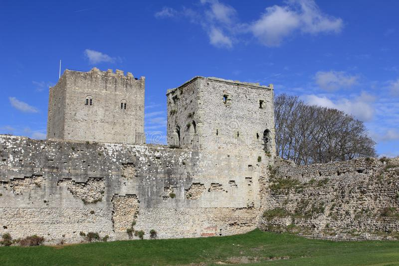 PORTCHESTER, HAMPSHIRE, ENGLAND, 30 MAR 2015: Portchester Castle is a medieval castle built within a former Roman fort at Portches stock photo