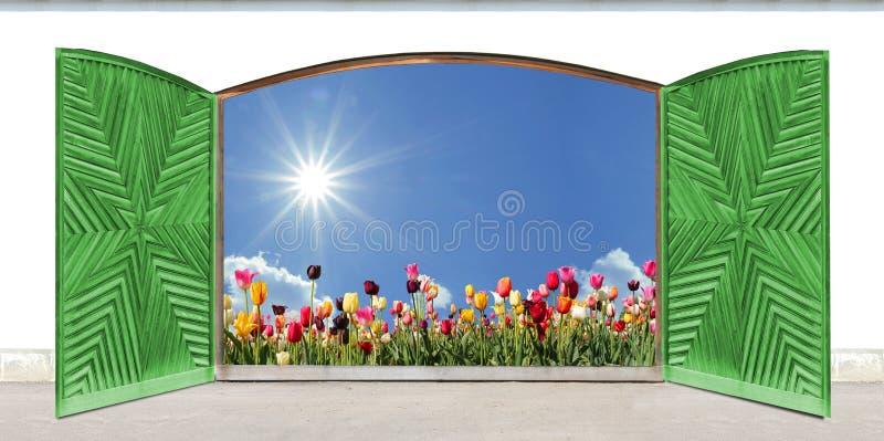 Porte à deux battants en bois avec le modèle découpé, vue au champ de tulipe image stock