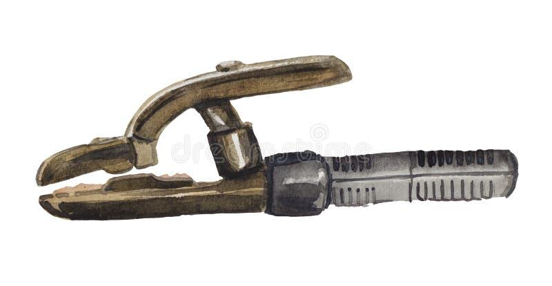 Porte-électrode de cru d'aquarelle illustration libre de droits