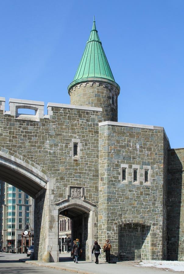 Porte święty Jean, jeden miasto bramy Quebec miasto fotografia royalty free