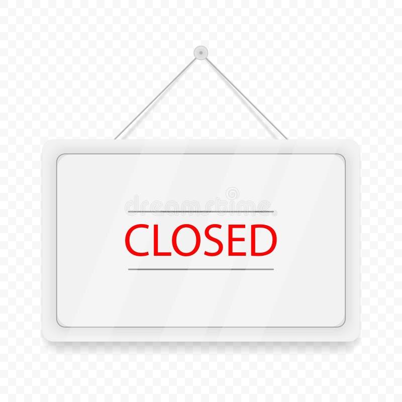 Porte accrochante fermée de rouge Enseigne blanche avec l'ombre d'isolement sur le fond transparent Illustration réaliste de vect illustration libre de droits