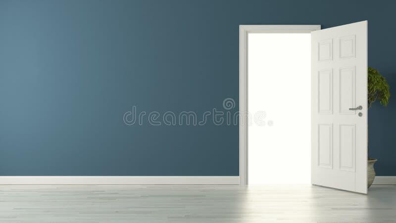 Porte américaine ouverte avec le mur bleu et le plancher réfléchi photos libres de droits