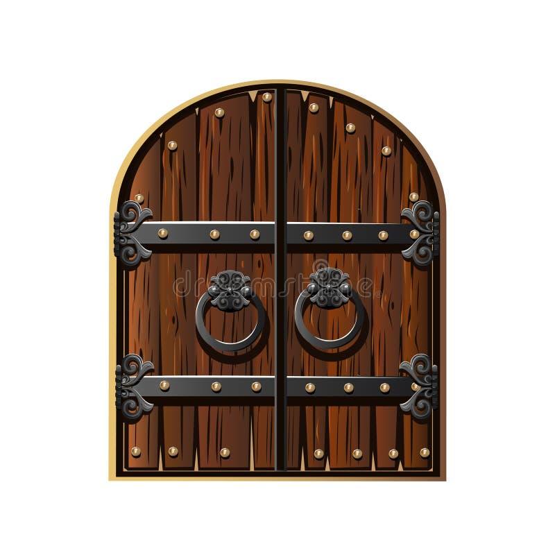 Porte antique décorée du fer illustration de vecteur