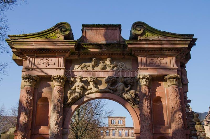 Porte au château d'Heidelberg, Allemagne images stock