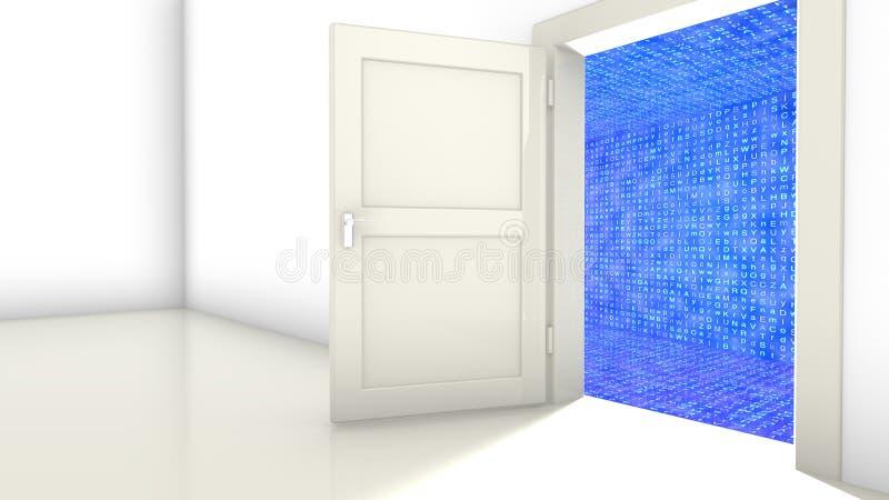Porte au couloir chiffré illustration de vecteur