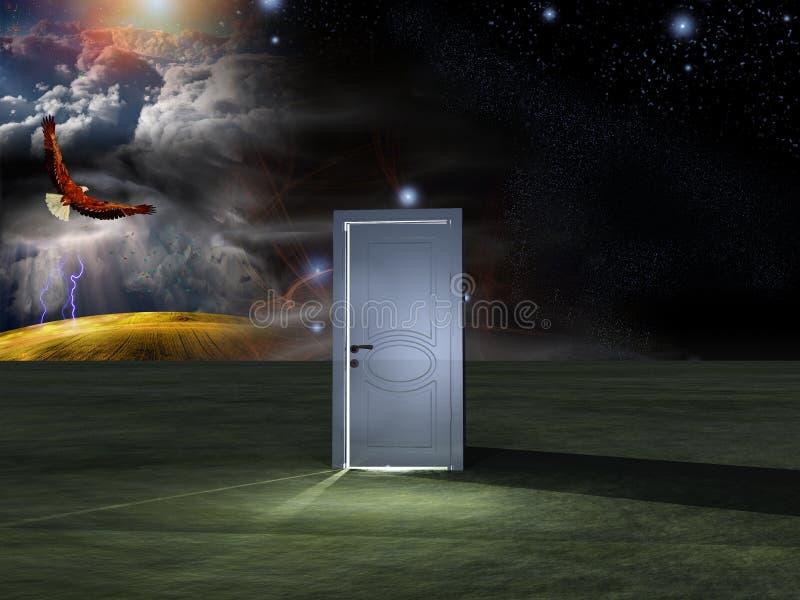 Porte avant ciel cosmique illustration de vecteur