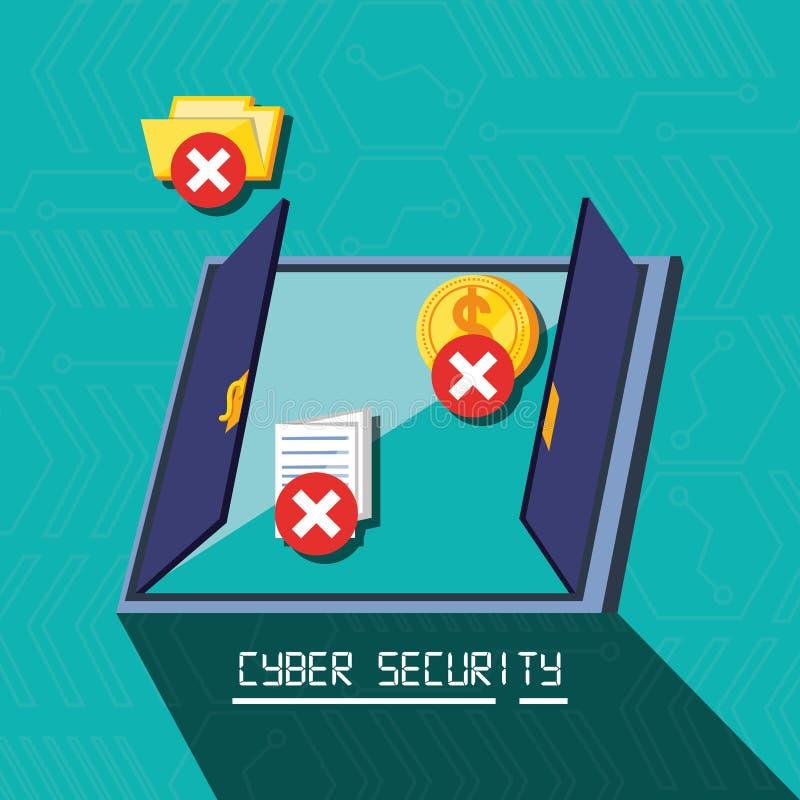 Porte avec la sécurité réglée de cyber d'icônes illustration libre de droits