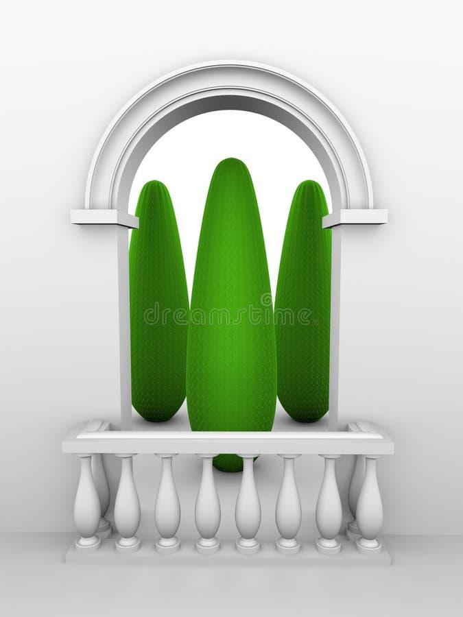 Porte avec la voûte et la balustrade illustration stock