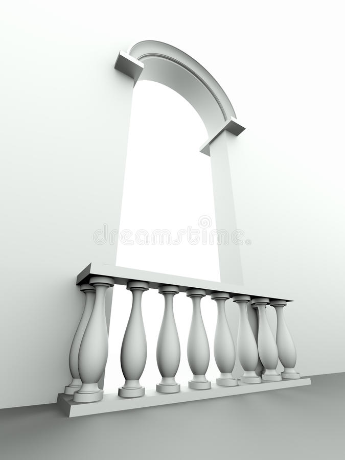Porte avec la voûte et la balustrade illustration de vecteur