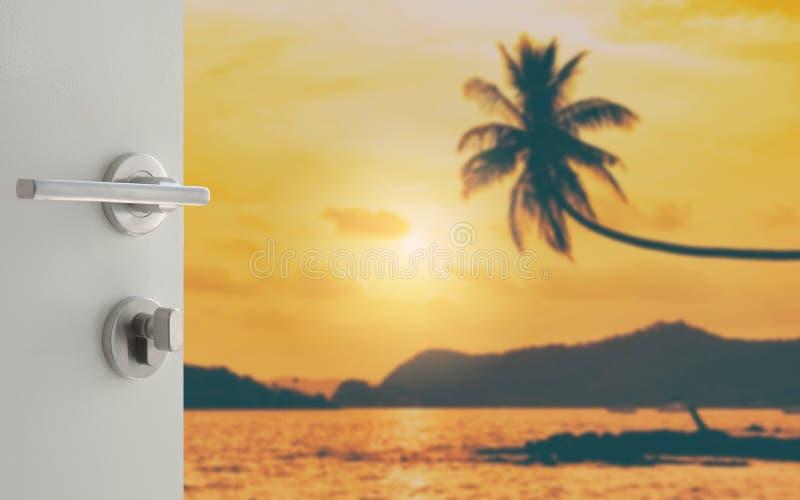 Porte blanche ouverte à l'arbre de noix de coco brouillé accrochant au-dessus de la plage tropicale images libres de droits