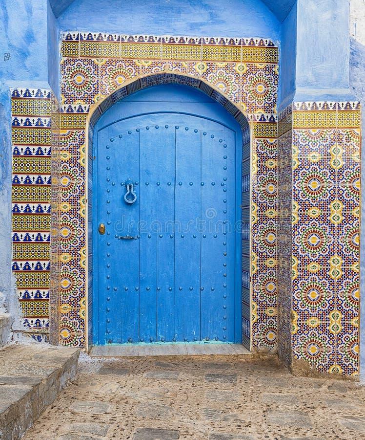 Porte bleue au Maroc photographie stock libre de droits