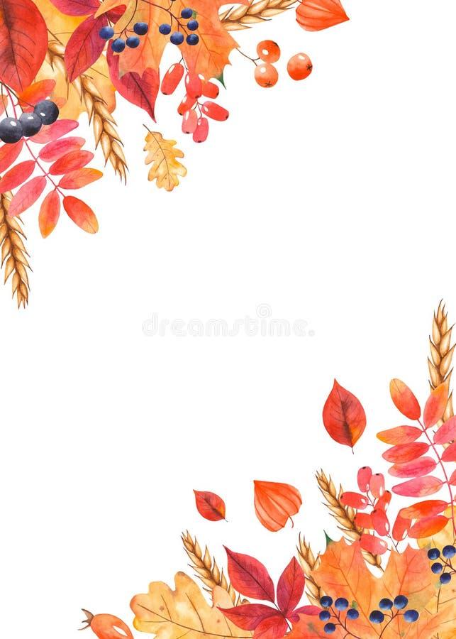 Porte-cartes d'aquarelle avec des feuilles d'automne, baies, blé illustration libre de droits