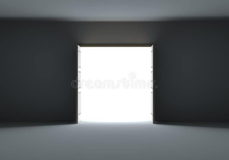 Porte che si aprono per mostrare luce intensa nell'oscurità illustrazione di stock