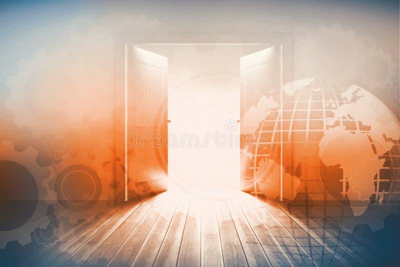 Porte che si aprono per rivelare bello cielo illustrazione di stock