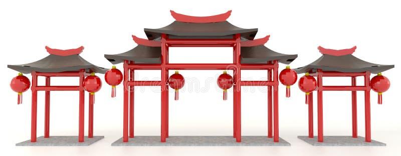 Porte chinoise simple du pavillon 3D illustration libre de droits
