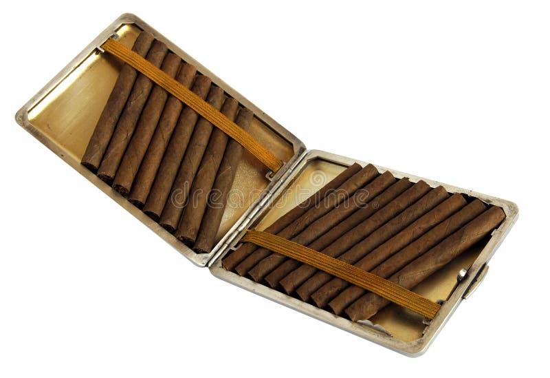 Porte-cigarettes antique avec des cigarillos photo stock