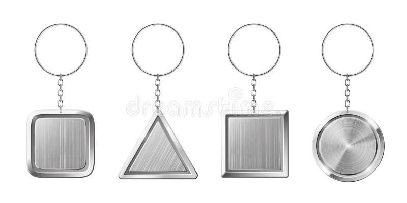 Porte-clés avec le support pendant argenté Keychain vide avec l'anneau pour des clés Chaînes principales d'isolement pour des clé illustration libre de droits