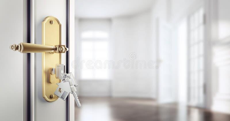 Porte classique ouverte avec des agains de clés un appartement vide illustration stock