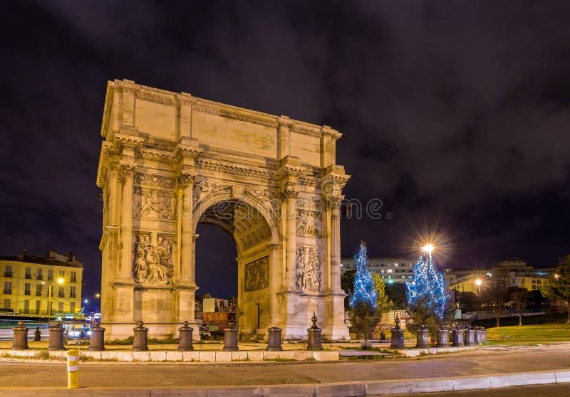 Porte-d'Aix, ein Triumphbogen in Marseille, Frankreich lizenzfreies stockbild